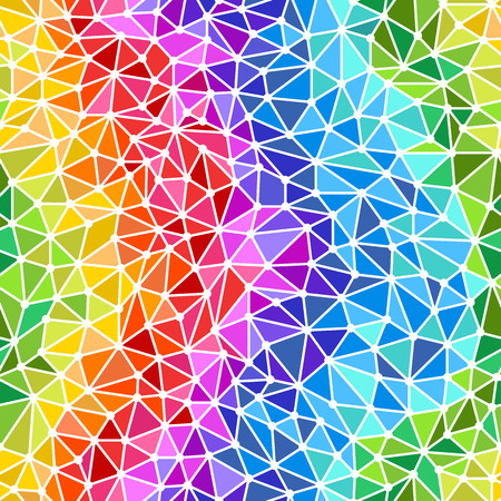 Bright rainbow triangles low poly seamless background