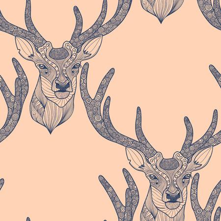 Seamless deer pattern Illustration