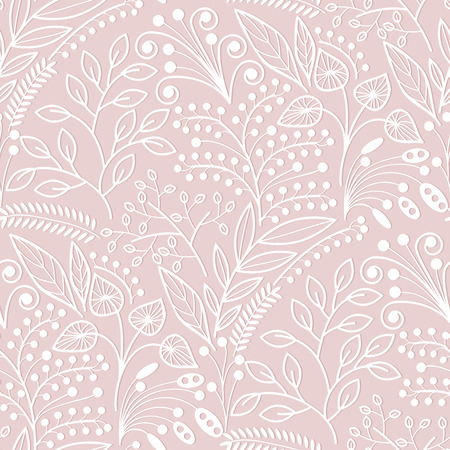 floriculture: White floral scales seamless pattern on pink background