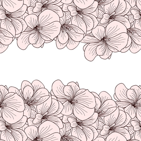 botanics: Geranium flowers background with copyspace Illustration