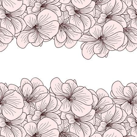 botanics: Geranium flowers background with copyspace Illustration