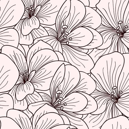 line drawings: Beige and brown geranium flowers line drawing seamless pattern