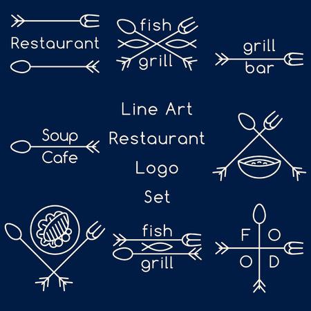 cross bar: Line art restaurant icon set
