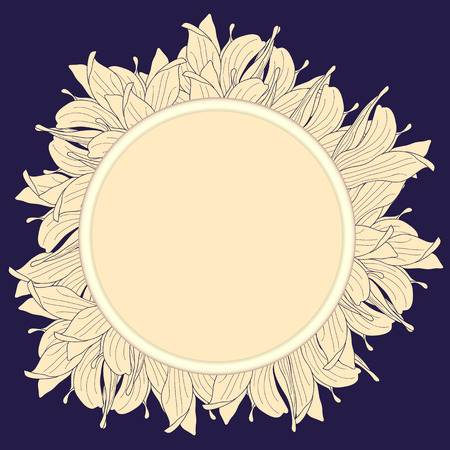 beige stof: Round beige label decorated with magnolia flowers