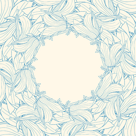 magnolia soulangeana: Frame made of magnolia soulangeana flowers engraving Illustration