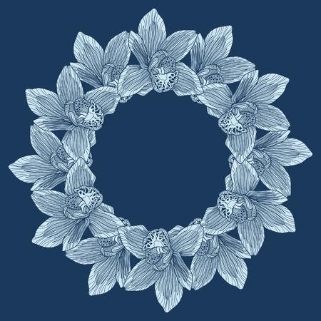 botanics: Round frame made of orchid flower engraving