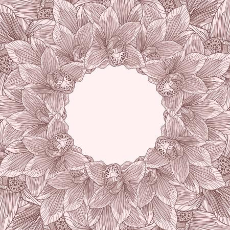 botanics: Brown and beige orchid flower frame