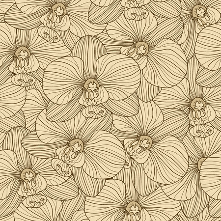 botanics: Brown lines on beige background orchid seamless pattern