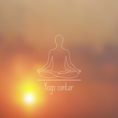 yoga sunset: Yoga center line icon on a blurry sunset background