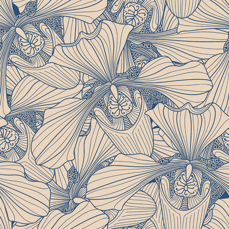 botanics: Beige and blue orchid flower seamless pattern