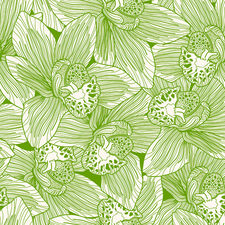 botanics: Green and white orchid drawing seamless pattern