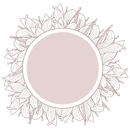 beige: Round beige label decorated with magnolia flowers