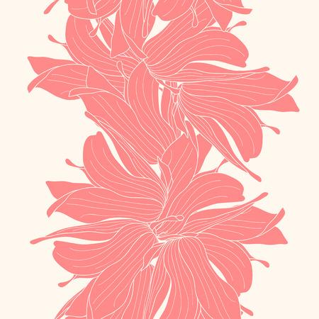 Seamless border made of magnolia flowers Illustration