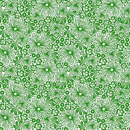 botanics: Seamless green pattern on white background