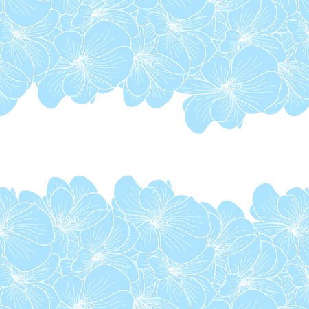 line drawings: Geranium flowers background with copyspace Illustration