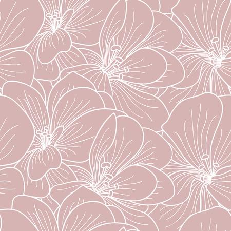 botanics: Pink and white geranium flowers line drawing seamless pattern