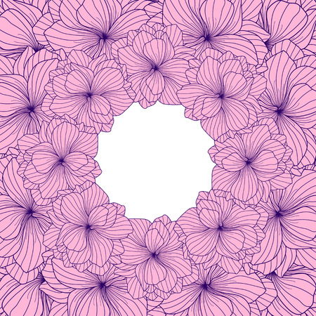 floriculture: Pink Begonia flowers round frame