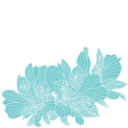 alstroemeria: Blue alstroemeria flowers drawing