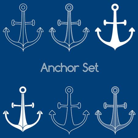 Set of anchor logo Illustration