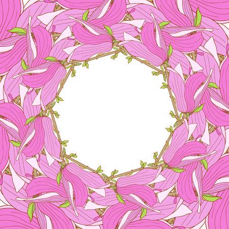 magnolia soulangeana: Frame made of pink magnolia soulangeana flowers