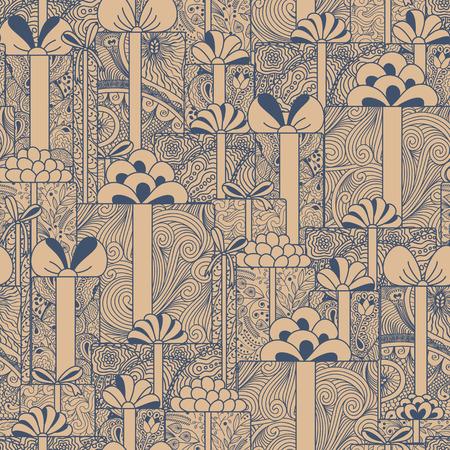 gift pattern: Seamless gift boxes pattern Illustration