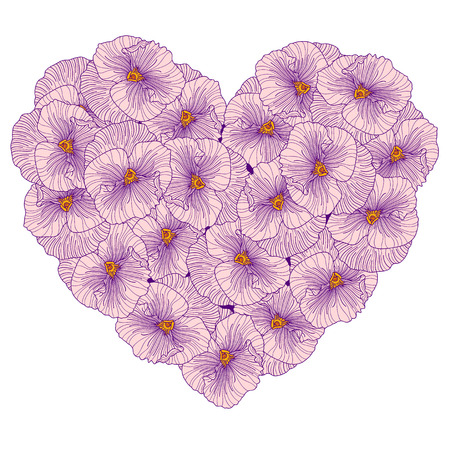 composition: Pansy flowers heart composition