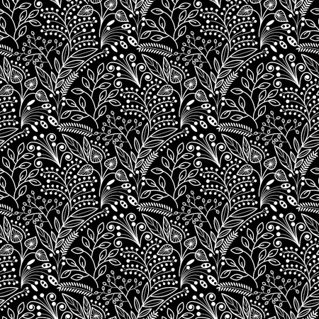botanics: White floral scales seamless pattern on black background