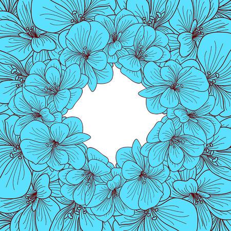 floriculture: blue geranium flowers round frame Illustration