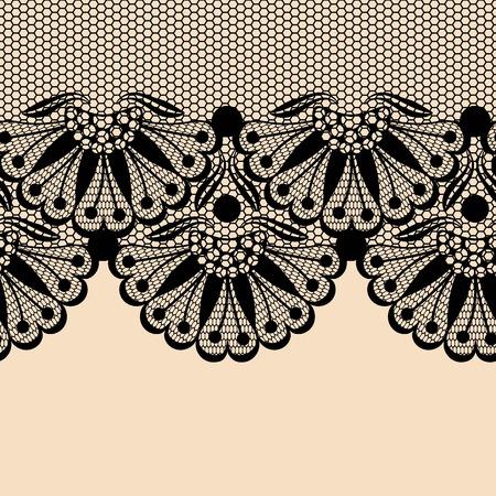 Nero bordo del merletto fiore su sfondo beige Archivio Fotografico - 43261178