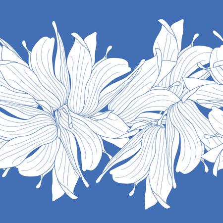 magnolia: Seamless border made of magnolia flowers Illustration