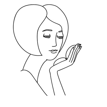 looking at mirror: Illustration of girl looking into a small mirror