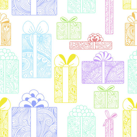 bright: Seamless bright gift boxes pattern Illustration