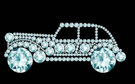 rhinestone: Retro car made of diamonds