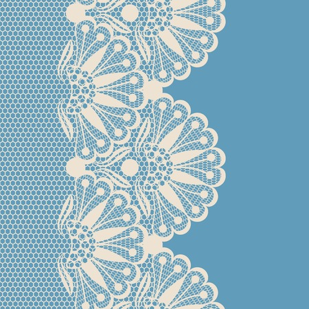 vintage lace: Beige flower lace border on blue background