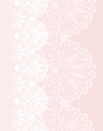 White flower lace border on pink background
