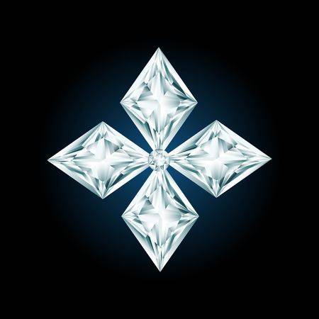 rhinestone: Diamond cross sign on black background Illustration