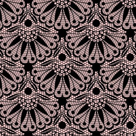 material flower: Seamless flower lace pattern on pink background
