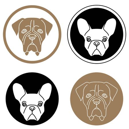 guard  guardian: Set of round labels with dog heads