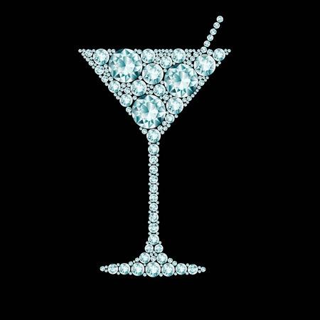 copa martini: Martini cóctel hecho de diamantes Vectores