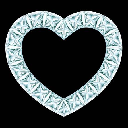 coeur diamant: cadre de coeur de diamant sur fond noir Illustration