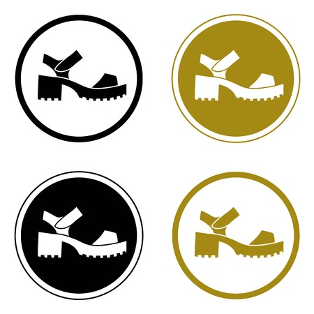 sandals: Four round logo with stylish chunky sandals