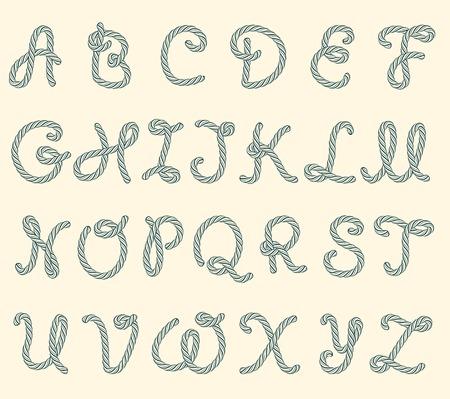 cordage: Set of rope font latin letters Illustration