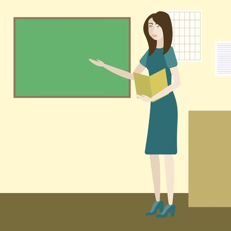 adult learning: teacher in a classroom standing next to chalkboard Illustration