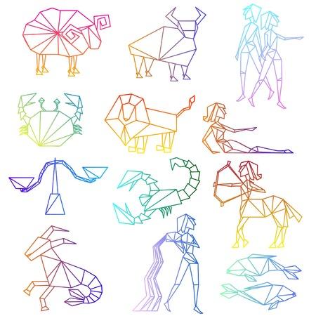 prognoses: Zodiac signs line art set
