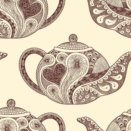 faience: Seamless pattern made of patterned teapots