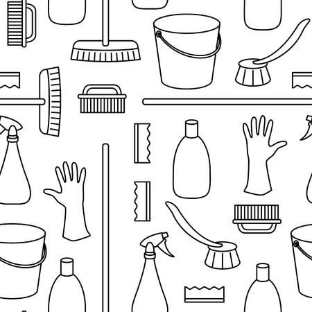 objects: Seamless pattern made of household cleaning objects