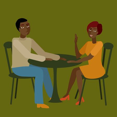 spouses: Vector illustration of african couple having conversation.