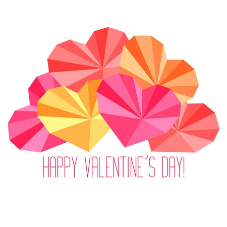 saint valentines: Origami paper hearts composition with Saint Valentines Day congratulation
