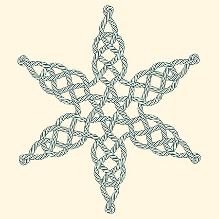 cordage: Rope decorative celtic star composition Illustration