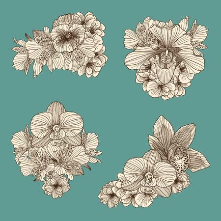 Ensemble de fleurs anciennes compositions sur fond turquoise foncé Banque d'images - 51328568